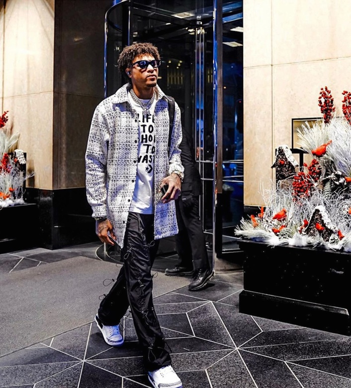 """Kelly Oubre Jr. from the Phoenix Suns wearing the RHUDE x THIERRY LASRY """"RHODEO"""""""