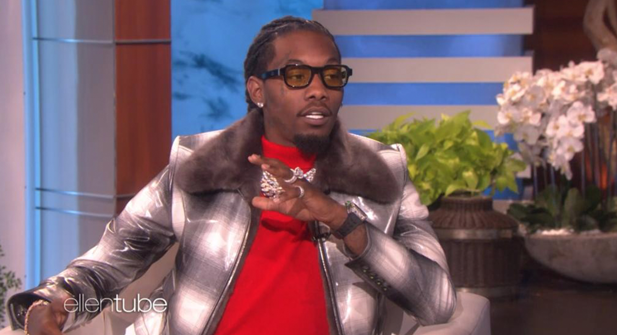 "OFFSET WEARING THE ENFANTS RICHES DÉPRIMÉS X THIERRY LASRY ""THE ISOLAR 2"" ON ELLEN SHOW"