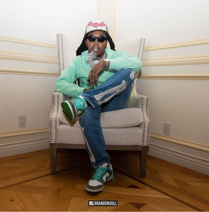 "TAKEOFF wearing the ENFANTS RICHES DÉPRIMÉS x THIERRY LASRY ""THE ISOLAR 2"""